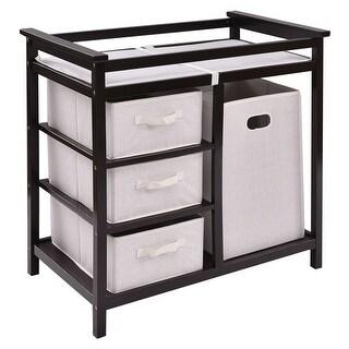 Costway Espresso Infant Baby Changing Table w/3 Basket Hamper Diaper Storage Nursery