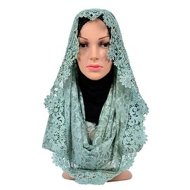 Muslim Lace Hollow Macrame Zircon Scarf Kerchief Hat mint green