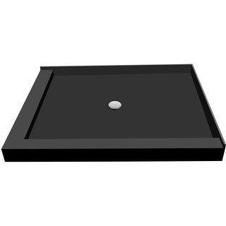 """Tile Redi P3666CDL-PVC  Redi Base 66"""" X 36"""" Corner Shower Pan with Double Threshold and 2"""" Center Drain - Polished Chrome"""
