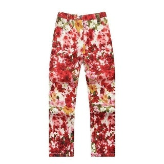 Richie House Baby Girls Red Flower Printed Zip Fly Snap Closure Trousers 24M
