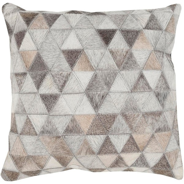 "18"" Gray and White Geometric Pattern Square Throw Pillow - Down Filler"