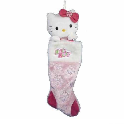 Hello Kitty Plush Head Stocking With Snowflakes