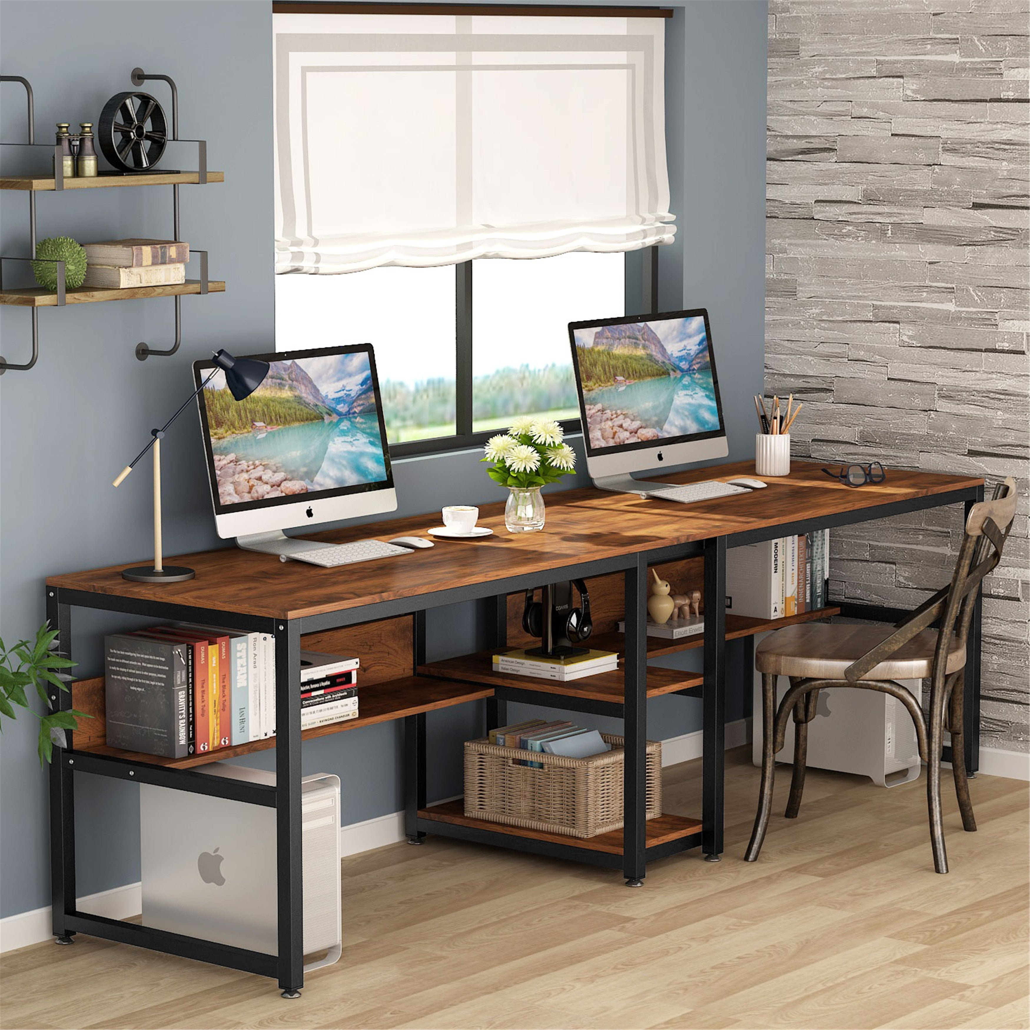 78 7 Inches Two Person Desk With Bookshelf Rustic Brown Overstock 31311915