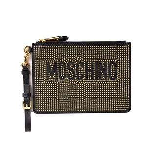 Moschino Black Leather Gold Studded Wristlet Clutch Pouch