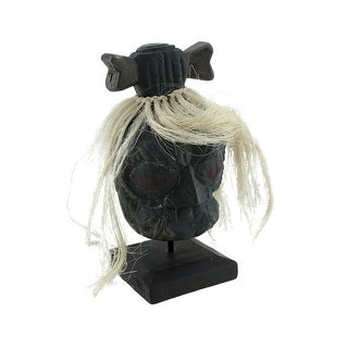 Mounted Shrunken Head with White Hair and Bone Hair-Bow Statue - Black