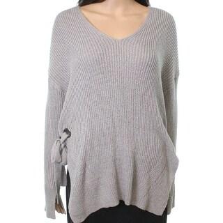 Lush Gray Women's Size Medium M V-Neck Side-Tie Cutout Sweater