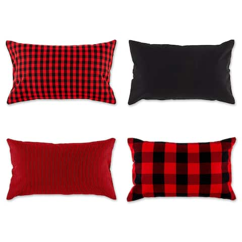 """Set of 4 Red and Black Cotton Pillow Cover 20"""" - other-size"""