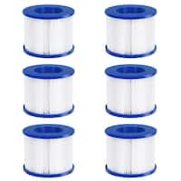 Goplus 6 Pack Hot Tub Pool Spa Filter Cartridge Pump Replacement 120 Fold Easy Set - Blue&White