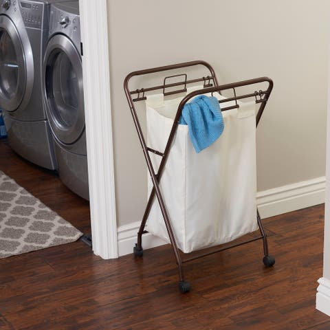 Household Essentials Rolling Laundry Hamper with Heavy-Duty Canvas Bag Antique Bronze Frame