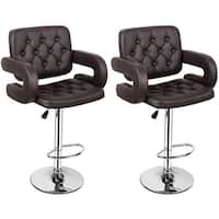 Costway Set of 2 PU Leather Swivel Bar Stools Hydraulic Pub Chair Adjustable Brown