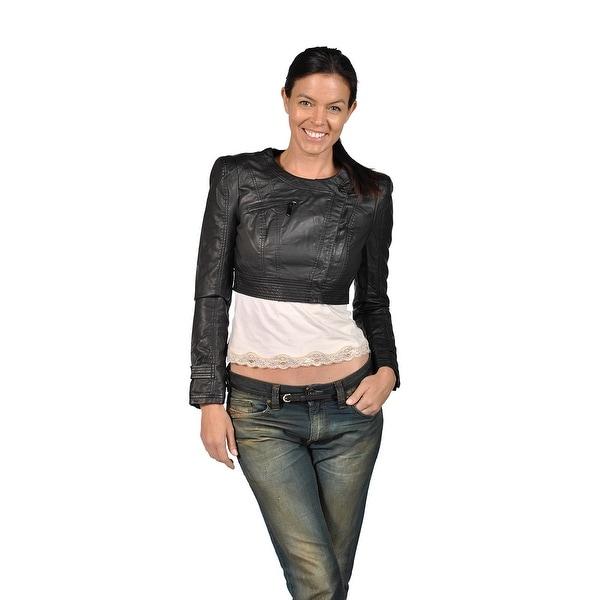 4d01e89c21 Shop Runway Faux Leather Bolero Jacket, Black - Free Shipping On ...