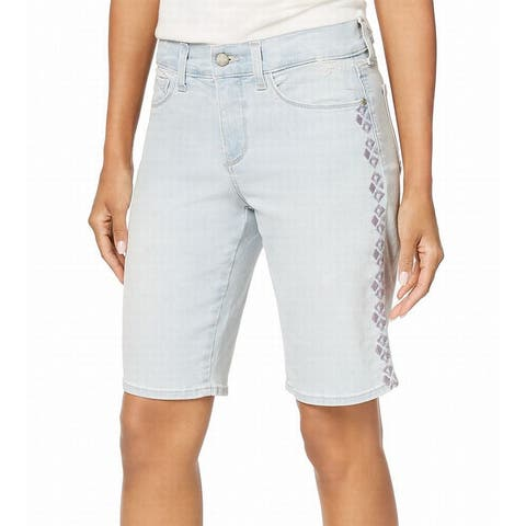 NYDJ Blue Women's Size 2 Embroidered Slimming Fit Denim Shorts