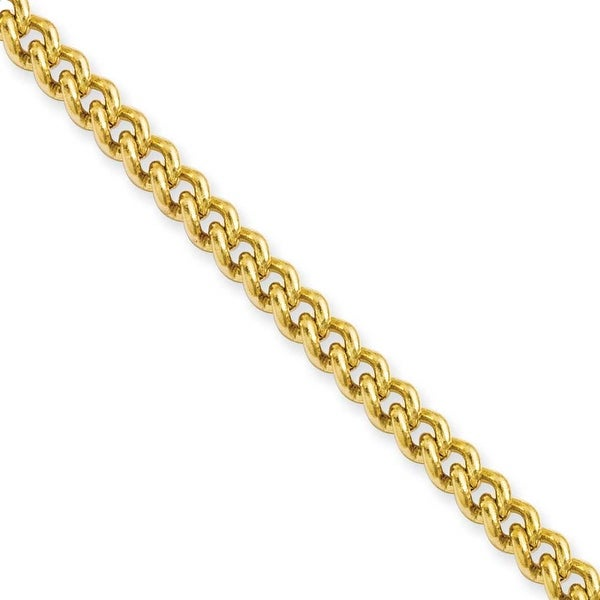 Stainless Steel IP Gold-plated 4.0mm 22in Round Curb Chain (4 mm) - 22 in