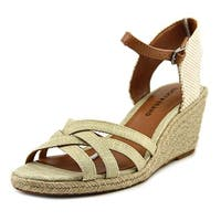Lucky Brand Kalley Women  Open Toe Canvas Nude Wedge Sandal