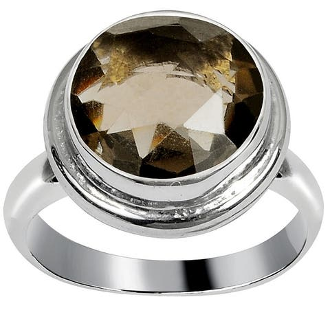 Smoky Quartz Brass Round Fashionable Ring by Orchid Jewelry