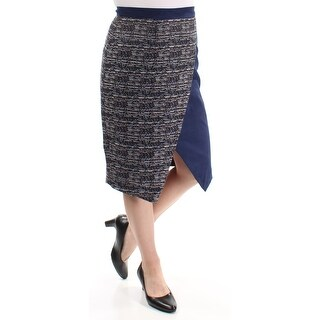 CATHERINE MALANDRINO $198 Womens New 1475 Navy Zippered Pencil Skirt 6 B+B