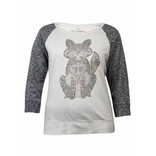 Style & Co Women's Embellished Fox Print Sweatshirt - Winter White