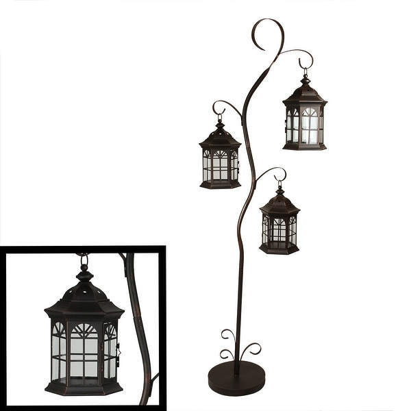 "60"" Rustic Weathered Copper Brown Pillar Candle Holder Tree with 3 Decorative Lanterns"
