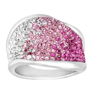 Crystaluxe Wave Band Ring with Swarovski Crystals in Sterling Silver - Rose