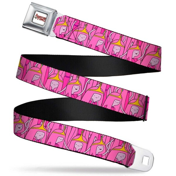 Adventure Time Logo White Full Color Princess Bubblegum Stacked Webbing Seatbelt Belt