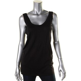 Anne Klein Womens Tank Top Double U Neck Ribbed