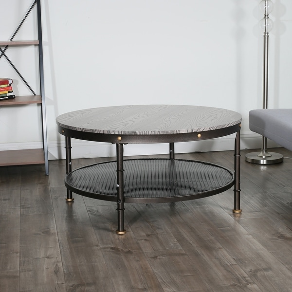 """Deford Walnut Round Wood and Metal Coffee Table - 37.75"""" x 37.75"""" x 17.75"""". Opens flyout."""
