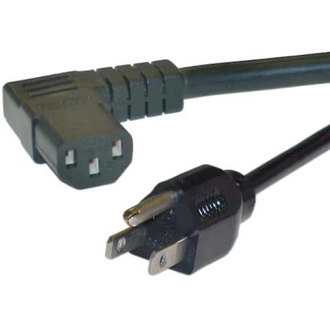 Offex Right Angle Computer/Monitor Power Cord, Black, 14 AWG, 15 Amp, 25 foot