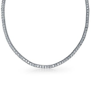 Bling Jewelry Classic Channel-Set Princess CZ Tennis Necklace 17 Rhodium Plated