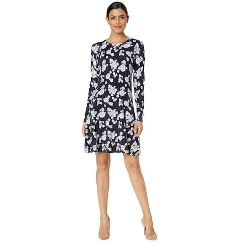 MICHAEL Michael Kors Womens Tos Lace Long Sleeve Flare Dress Large True Navy
