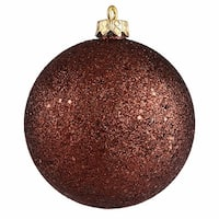 "Chocolate Brown Holographic Glitter Shatterproof Christmas Ornament 4"" (100mm)"