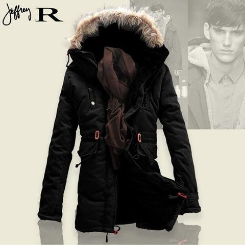 Tops Men's Fur Collar Hoody Jacket Winter Hooded Jackets, Medium-Long Fleece Coats Mens Winter Parka High Quality