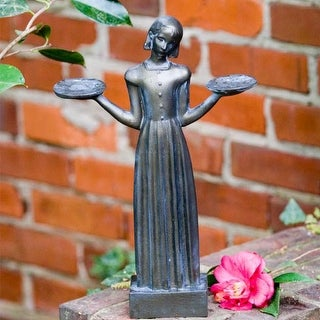 "Outdoor Garden Sculpture - Savannah's Bird Girl Statue (Small - 15"")"