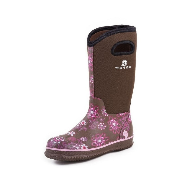"Roper Outdoor Boots Womens 12"" Barn Muck Floral 09-021-1136-0044 BR"