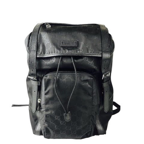 Gucci Men's Backpack Black GG Nylon Drawstring with Leather Trim 510336 1000 - One size