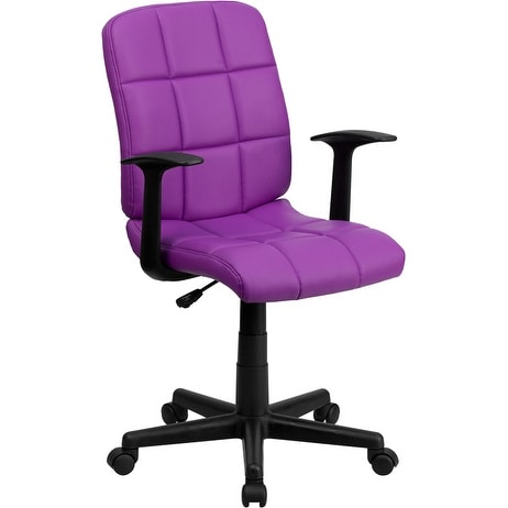 Alexandria Bay Mid-Back Purple Quilted Vinyl Swivel Home/Office Task Chair w/Arms