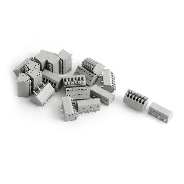 20Pcs 6-Pin 7mm Spacing AC 300V 6A PCB Mount Type Spring Terminal Block Gray