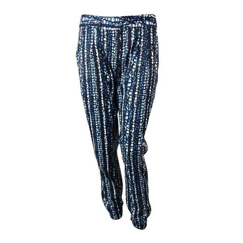 DKNYC Women's Abstract Print Pleated Ankle Pants - Black/Blue