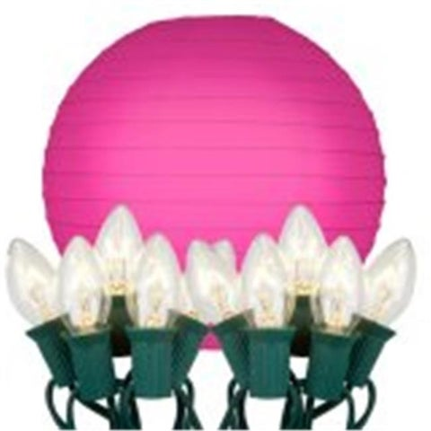 String Lights with Paper Lanterns- Fuchsia 10 Count