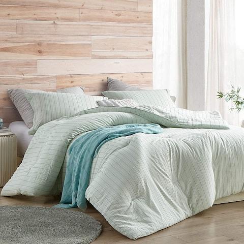 Serenity Mint Stripe Oversized Comforter - 100% Cotton