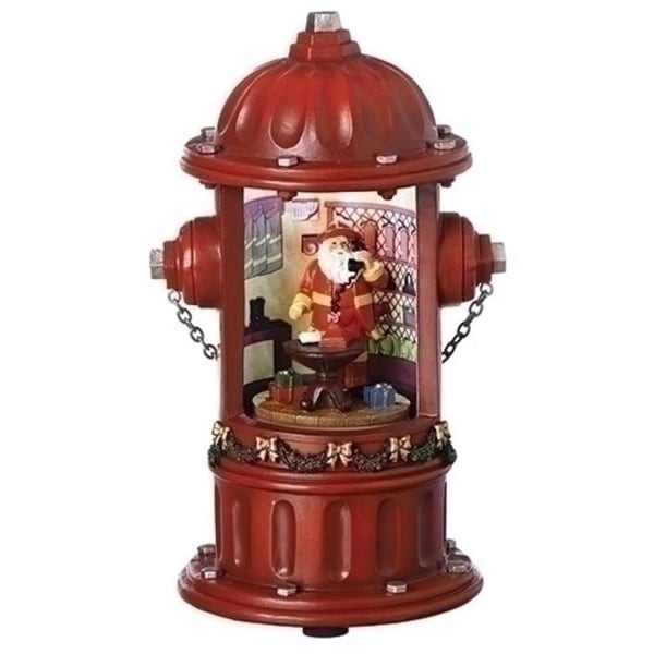 "8.25"" Musical LED Rotating Battery Operated Fire Hydrant Santa Claus"