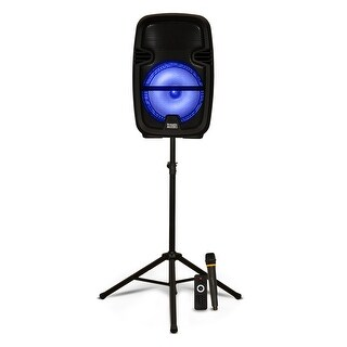 """Acoustic Audio PRTY82 Battery Powered 8"""" Bluetooth LED Speaker with Mic & Stand"""