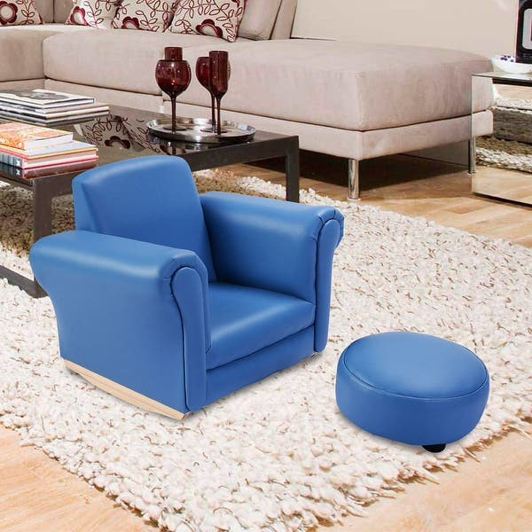 Costway Blue Kids Sofa Armrest Chair Couch Childrens