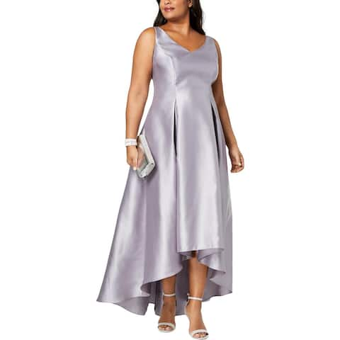 Adrianna Papell Womens Plus Formal Dress Sheen High Low