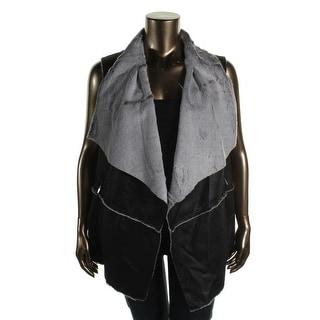 Jones New York Womens Plus Faux Fur Open Front Vest - 2X