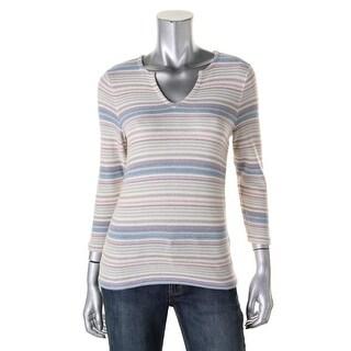 LRL Lauren Jeans Co. Womens Striped Slash Neck Pullover Sweater - M