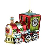 """4"""" Festive Decorated Holiday Train Christmas Ornament - RED"""