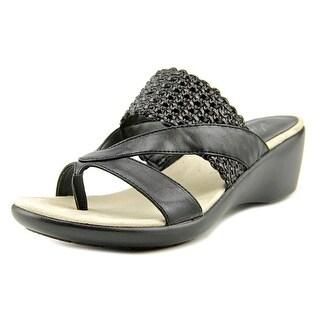 Kim Rogers Patta Women Open Toe Synthetic Black Wedge Sandal