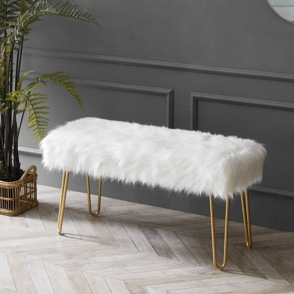 Silver Orchid Byron Faux Fur Bench / Ottoman. Opens flyout.