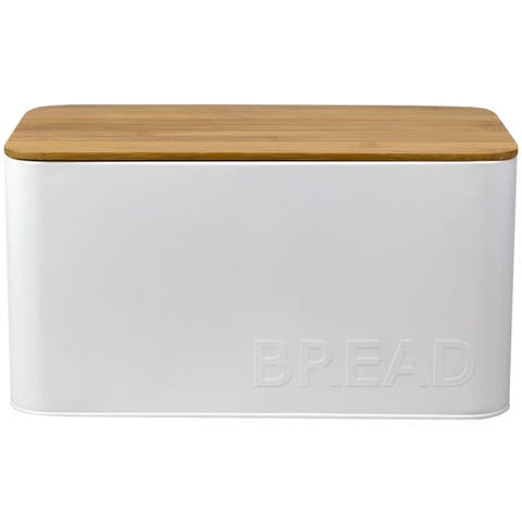 Tin Bread Box with Bamboo Top, White