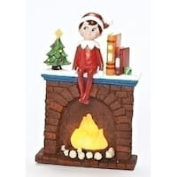 "6.75"" Brown and Red Elf on Fireplace Christmas Tabletop Decoration - LED Lights"